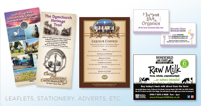 Leaflets, Stationery, Adverts, etc