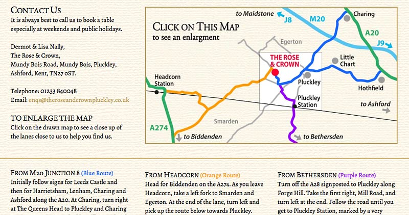 Web route map of how to find The Rose & Crown at Mundy Bois
