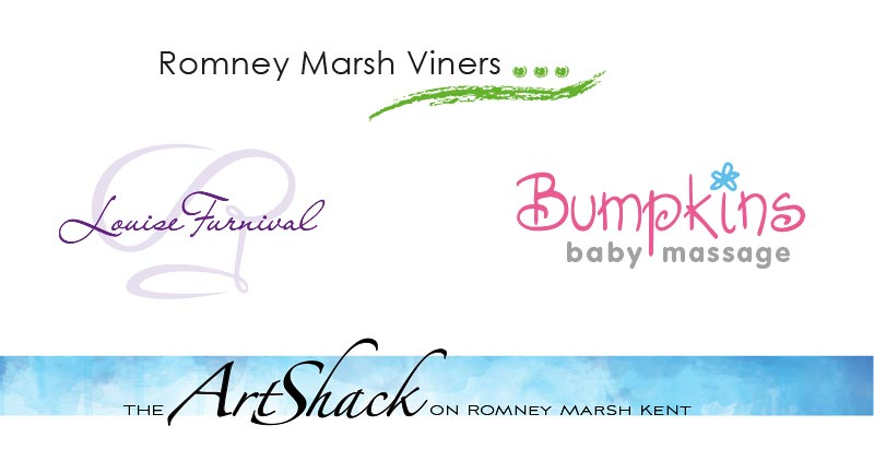 Logos for Romney Marsh Viners, Louise Furnival (chef), Bumpkins Baby Massage and The Art Shack.