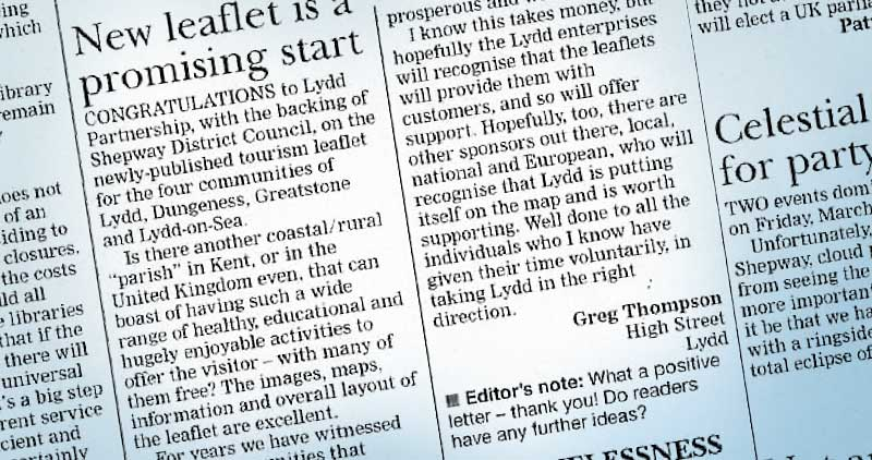 Review in Kent Express of the Lydd leaflet